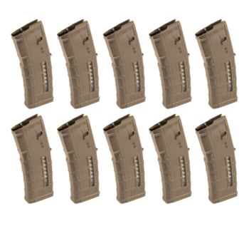 Magpul Pmag M3 AR-15 30 RD Medium Coyote Tan Windowed Mag (Ten Pack)